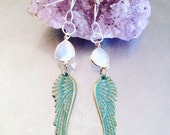 Moonstone and Angel Wing Earrings