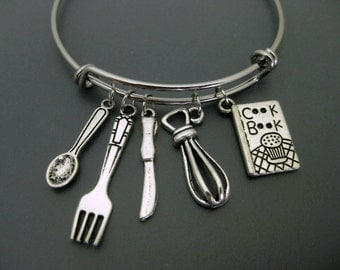 Cook Bracelet / Hobby Chef Bracelet / Charm Bracelet / Adjustable Bangle  / Cook Book Bangle / Love to Cook Bangle / Fork Knife Spoon