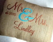 Mr & Mrs Custom Embroidered Pillow Cover Est. Date and Name Included 12x12 or 12x16 or 16x16 Lumbar Pillow Cover Burlap Cotton Linen-Look