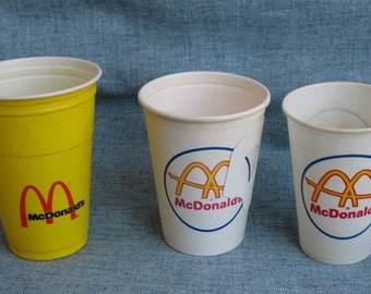 3 Vintage McDonald's Cups Plastic Paper Cup Coffee Cup Dixie Cup Easton, Pa...Rare..