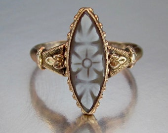 Antique Victorian Carved Dogwood Flower Cameo Promise Ring 14K