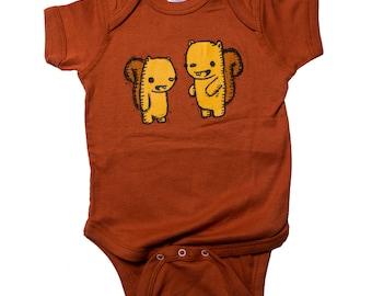 squirrel friends baby one piece body suit, squirrel baby apparel, squirrel infant jumper, baby gift, baby shower gift, onesie