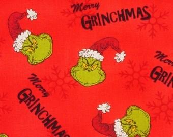 Merry Grinchmas, How the Grinch Stole Christmas, Christmas Fabric, Dr Seuss, Robert Kaufman, Who Family, By the Yard