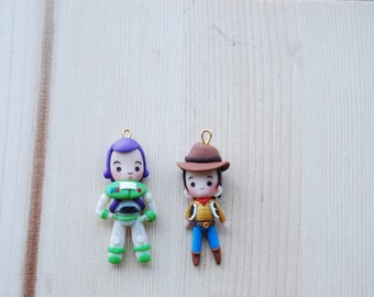 Disney Pixar Toy Story - Buzz and Woody pendants made in fimo