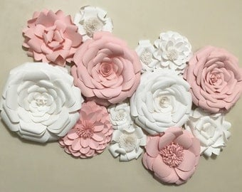 Paper Flower Wall Decor - Wedding Decor - Home Decor - Paper Flower Backdrop - Pink - White - Paper Flowers - Photo Shoot - Backdrop
