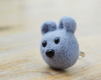 Grey Felt Bear Ring - Needle Felted Grey Animal Teddy Bear Ring