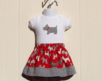 Scottish Terrier Skirt Set, Scotties and Gingham, Size 12 Months