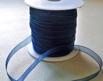 "Navy Blue Organza Ribbon-6mm-1/4""-10 YDS"