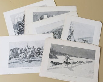 9 Frederick Remington Original Engravings Featured Harper's New Monthly Magazine 164b