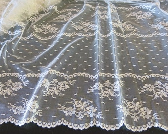 Ivory Bridal Lace Bands Flowers Scalloped Edge 2.5 Yards 254b