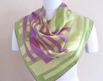 Vintage Square Scarf Abstract Celery Greens Lavender Ivory 29 by 29 Inches 258b