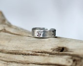 20% OFF-- Anchor Ring- Silver Aluminum Hammered Band Ring