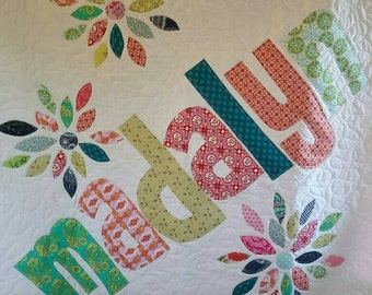 The Original Personalized Quilt 40 x 40, Baby Quilt, Raw Edge Applique Quilt, Name Quilt CC4040