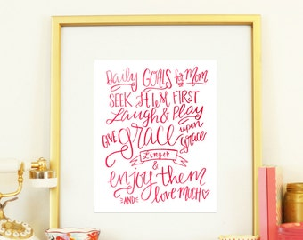 Daily Goals for Mom Handlettered Pink Watercolor Digital Print Instant Download Motherhood Life Encouragement Goals Motivation Inspiration