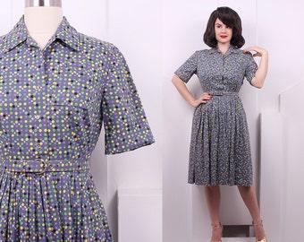 Vintage 1950's Atomic Print Cotton Day Dress • 50's Geometric Fit & Flare Dress • Size M
