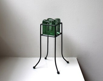 Modernist Blenko Green Glass Candle Holder Black Wire Stand Ball Feet 1960's