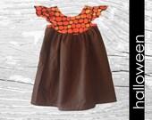 Halloween Girl Outfit, Pumpkin Dress, Girl, Toddler Holiday, Black, Orange Dot | Size 2T - 8 | Free Shipping