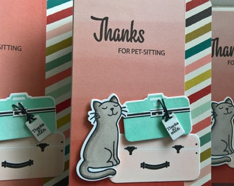 Pet Sitting Thank You Card, Card for Pet Sitter, Cat Sitter Thank You Note, Summer Vacation Card, Kitty Lover Card