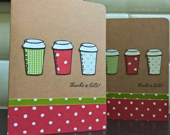 Christmas Gift Card Holder, Gift for Mail Carrier, Thanks a Latte Card, Coffee Lover Gift, Teacher Appreciation Gift Card Envelope