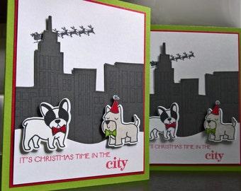 Dog Christmas Cards Set of 2, French Bulldog Card, Schnauzer Card, Christmas in the City, Dog Holiday Cards, Frenchie Christmas Cards