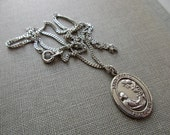 """vintage St. Cecelia sterling silver charm and 18"""" necklace - medal, religious, music, musicians"""