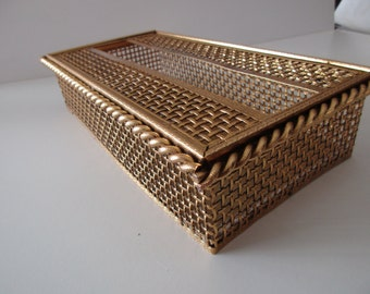 vintage Stylebuilt gold tissue box cover - ornate, basketweave, rope