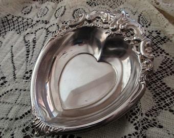 vintage silverplate heart dish- Godinger.-ornate-candy-floral