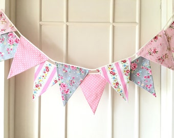 Shabby Chic Fabric Banners, Wedding Bunting, Pennents, Pink and Grey Shade - 3 yards (3nd version)