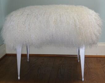 mongolian lamb bench stool vanity seat ottoman tibet wool fur new silver legs sheepskin