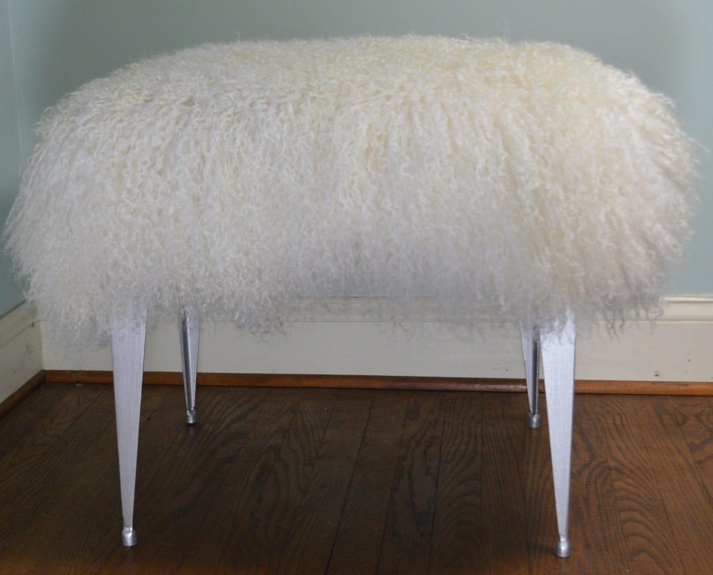 vanity chair or stool.  zoom Mongolian Lamb Bench Stool Vanity Seat Ottoman Tibet Wool Fur