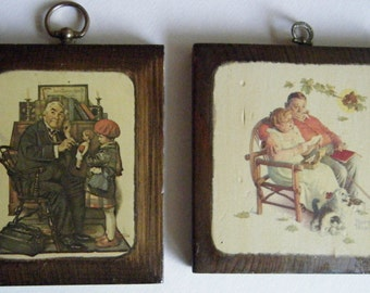 Norman Rockwell Wooden Plaques// Prints on Wood Salem NY// The Doctor // Romantic Grandparents