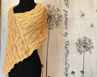 KNITTING PATTERN / Knit Shrug pattern / Easy knitting pattern / Shrug Pattern / Knit Bolero Pattern / Poncho Pattern