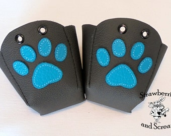 Black Leather Roller Derby Skate Toe Guards with Paw prints