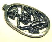 Skeleton - Detailed 3D Skull Pendant 1994 Lead-Free Pewter Charm - Dead Skull Halloween