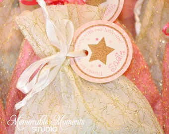 PRINTABLE FAVOR TAGS Twinkle Twinkle Little Star - Birthday or Baby Shower - Pink and Gold Glitter - Memorable Moments Studio