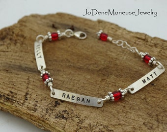 Sterling silver custom hand stamped bracelet,names,dates,inspirational words, mom mothers grandmothers bracelet, your choice of stone color