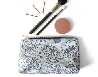 Floral Makeup Bag, Pale Peony Print, Original Floral Illustration, Slim Zipper Pouch, Bumblebee Ditzy Floral Pattern, Pretty Cosmetic Bag