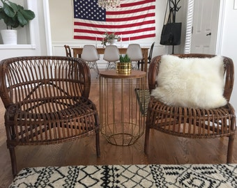 SOLD .Franco Albini Style Scoop Chairs //Lounge Rattan Chairs//Mid Century Chairs