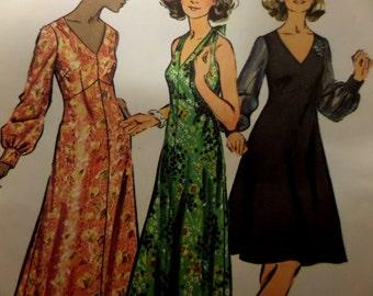 "1972 Half-Size V-Neck Halter Flare Dress Pattern Simplicity 5432 Miss 18 1/2 Bust 41"". Shaped Bodice HALTER-DRESS PATTERN at WhiletheCatNaps"