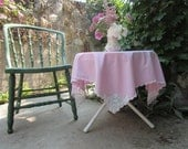 Vintage Tablecloth Small Pink Square White Filet Crochet Corners