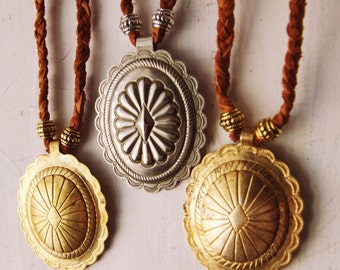 RVC-26, repurposed vintage brass or silver tone concho hand-braided recycled leather necklace