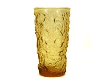 Vintage Amber Drinking Glass w/Lava-Looking Texture (E2048)