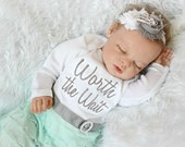 Worth the Wait Newborn Girl Take Home Outfit Layette Gown Baby Girl Clothes Newborn Coming Home outfit Hospital Pictures Outfit