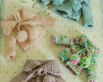 Ooak Blythe Doll Hand Knit Sweater Shawl Collar Ties Bows Pom Poms Blue Dusty Lavender Ballet Pink Green Pink Speckled