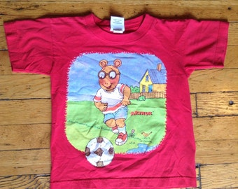 1990's Arthur cartoon t shirt soccer USA kids 7