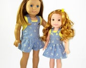 18  inch doll clothes, designed to fit dolls such as American Girl® doll clothes Shortalls, top, romper, AG doll clothes