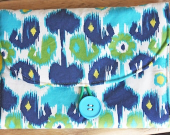 Diaper Changing Pad - Diapering on the Go - Green Blue Floral Watercolor