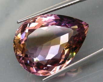 Large Bi-Color Ametrine Purple and Gold, 26.08 Ct. Faceted Pear Shape Gemstone, 23 x 18 MM, Natural Gem, Untreated
