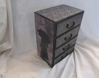 Lady In Mourning Gothic Victorian Widow Large Drawered Jewelry Keepsake Box Tabletop Chest of Drawers