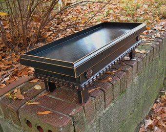 Flat Top Elevated Dog Bowl Feeder, Raised Border, Black with Dark Brown Highlights Cottage Chic Style Made To Order